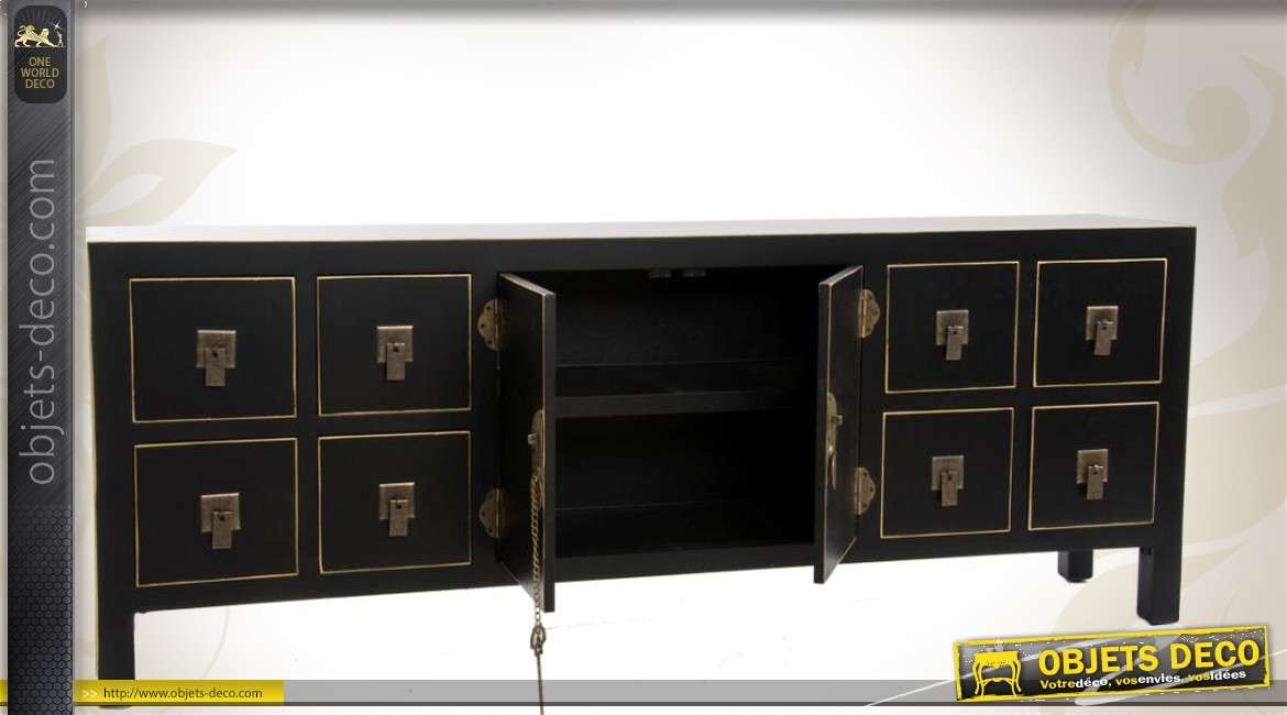 meuble tv console de style japonais coloris noir profond. Black Bedroom Furniture Sets. Home Design Ideas