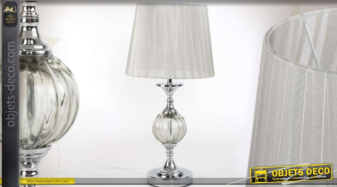 lampe de salon de style r tro avec pied effet cristal et chrome. Black Bedroom Furniture Sets. Home Design Ideas