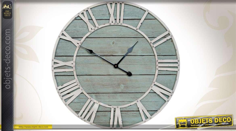 Grande horloge murale ronde 70 cm coloris patin s for Horloge murale grande dimension