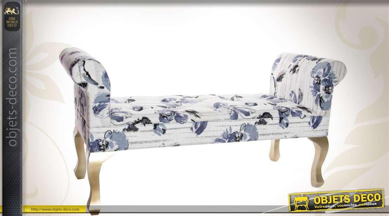 banquette bout de lit capitonn motifs floraux bleu et blanc. Black Bedroom Furniture Sets. Home Design Ideas