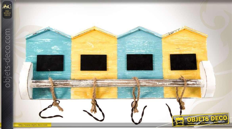Porte manteaux en bois et m tal style cabanes de bord de mer - Porte cabane bois ...