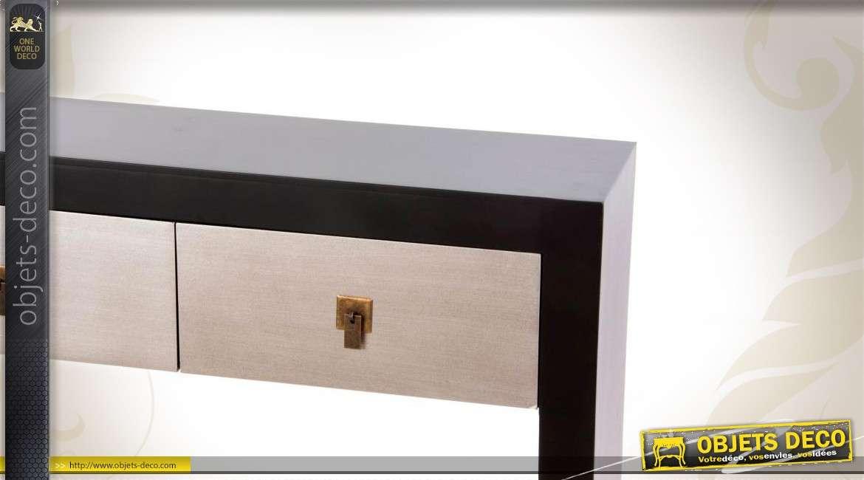 console de style moderne coloris noir et argent avec 2 tiroirs. Black Bedroom Furniture Sets. Home Design Ideas