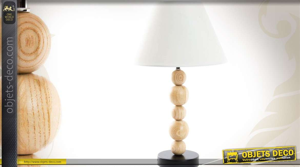 lampe de table avec pied d coration de boules de bois 51 cm. Black Bedroom Furniture Sets. Home Design Ideas