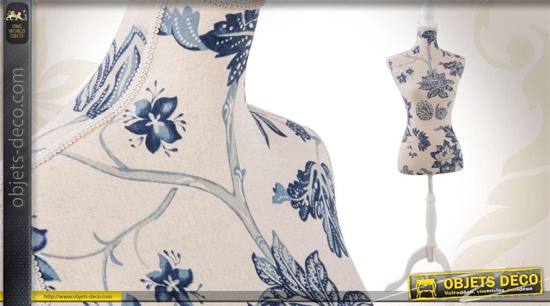mannequin de couture r tro coloris lin naturel et fleurs bleues. Black Bedroom Furniture Sets. Home Design Ideas