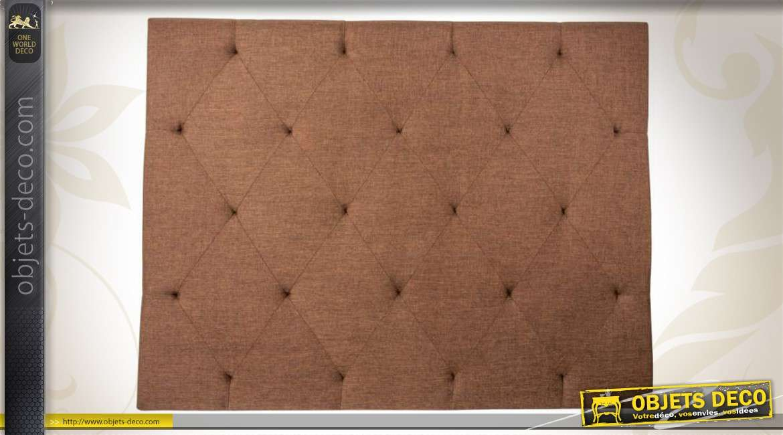 grande t te de lit capitonn e en tissu coloris marron feu 150 cm. Black Bedroom Furniture Sets. Home Design Ideas