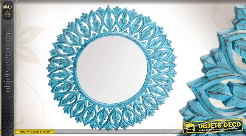 miroir rond bois bleu vieilli motifs v g taux ajour s 76 cm. Black Bedroom Furniture Sets. Home Design Ideas