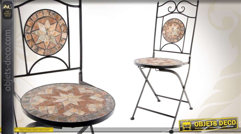 Chaise de jardin assise ronde en fer forgé et mosaïque