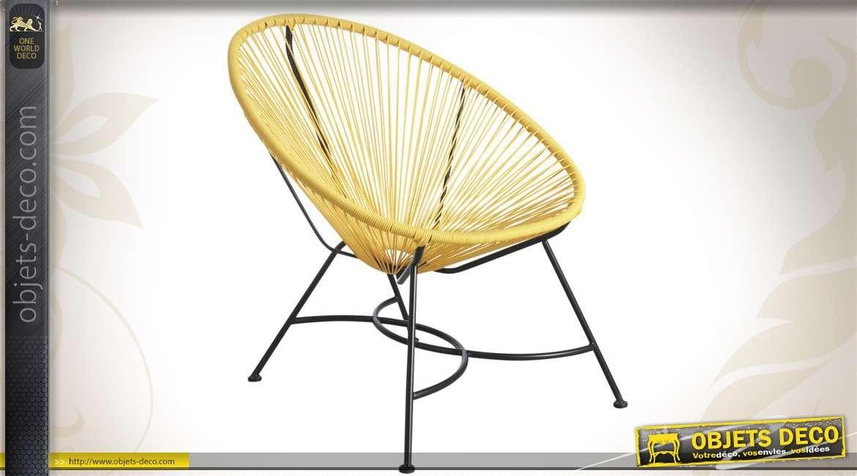 Fauteuil design en métal coloris jaune et noir