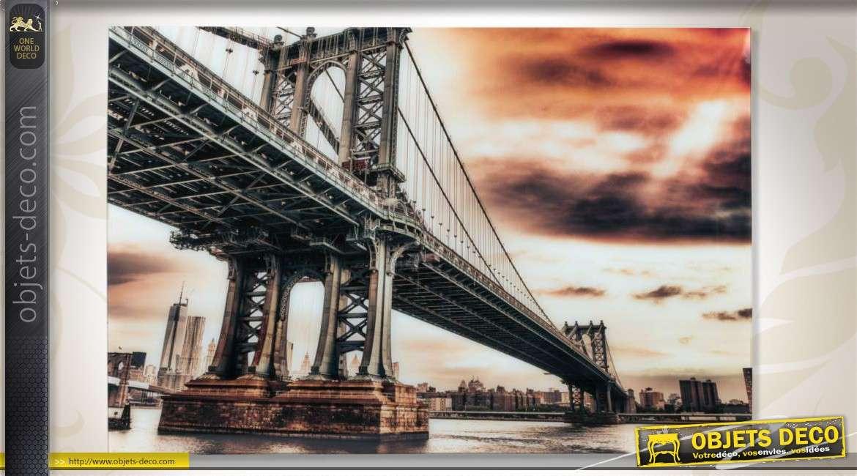 grand tableau 120 x 80 sous verre tremp pont suspendu new york. Black Bedroom Furniture Sets. Home Design Ideas