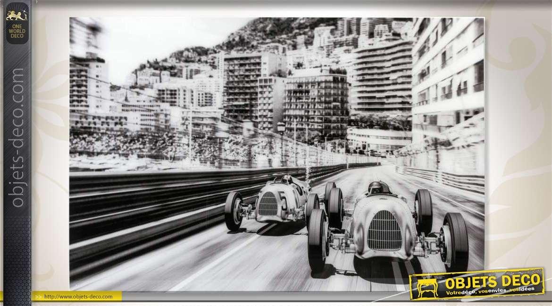 Déco Murale Sous Verre Trempé Gp Monaco Rétro En Noir Et Blanc