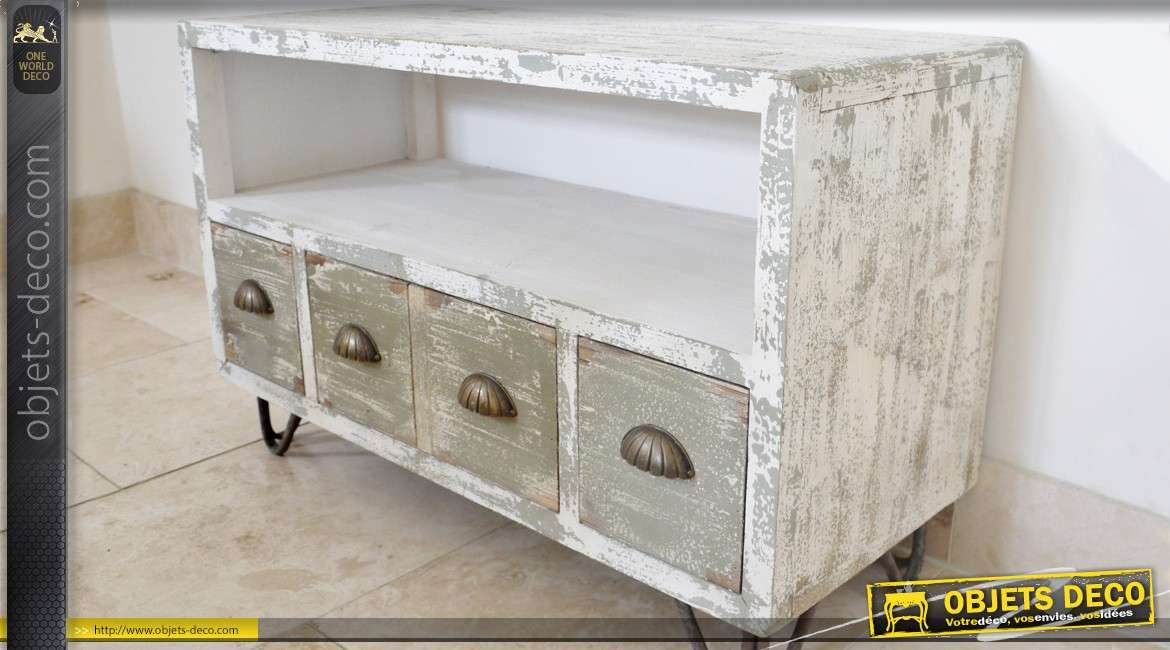 meuble tv de style rustique et brocante avec 3 tiroirs. Black Bedroom Furniture Sets. Home Design Ideas