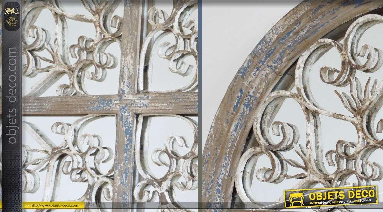 Grand miroir rond rustique et brocante bois et m tal 72 cm for Grand miroir rond