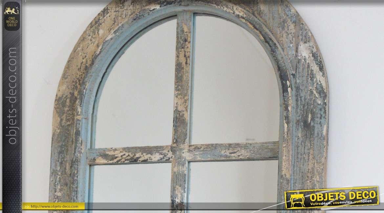 Miroir fen tre en arcade de style rustique et brocante 111 cm for Miroir rustique