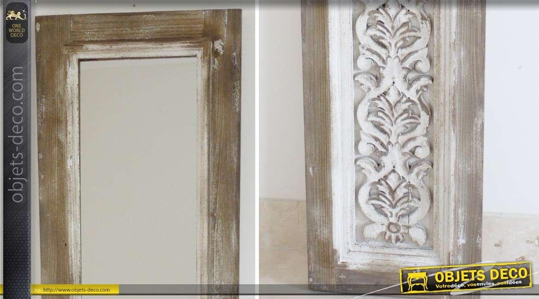 Miroir porte de style rustique et brocante 186 cm for Porte miroir 50 cm