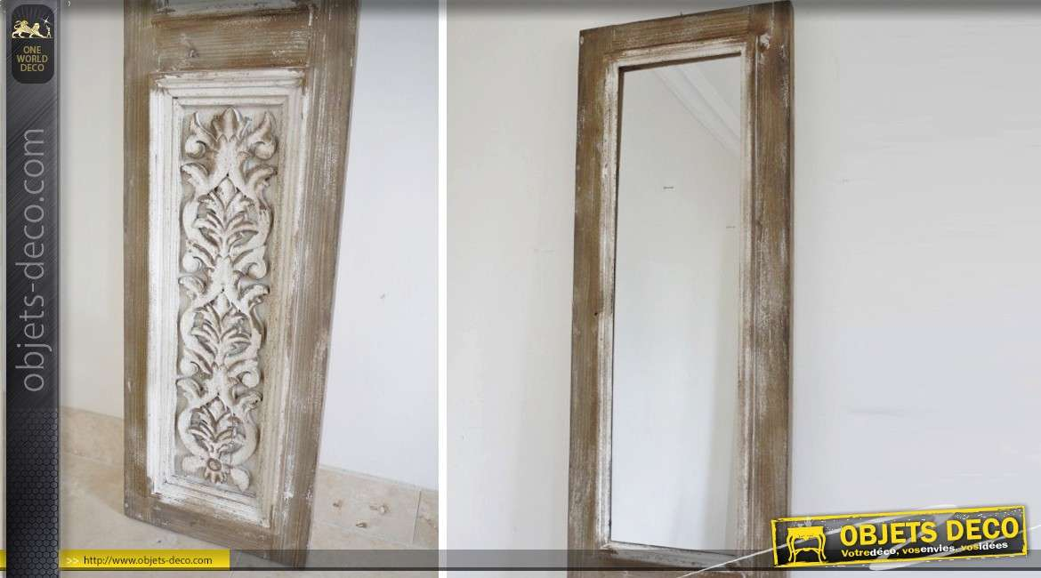 Miroir porte style r tro m tal patine cr me antique 117 cm for Miroir de porte