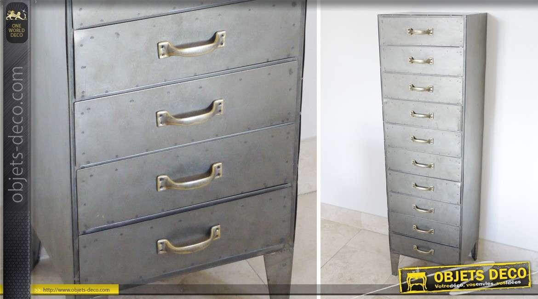 chiffonnier 10 tiroirs en m tal de style industriel. Black Bedroom Furniture Sets. Home Design Ideas