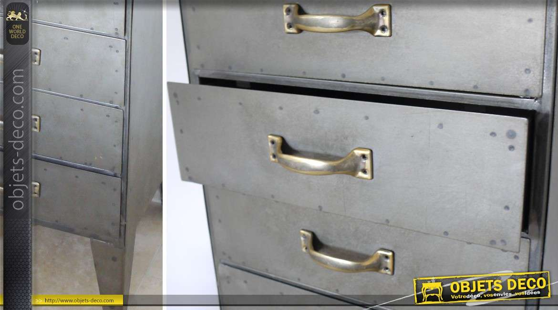 Chiffonnier 10 tiroirs en m tal de style industriel for Chiffonnier style industriel