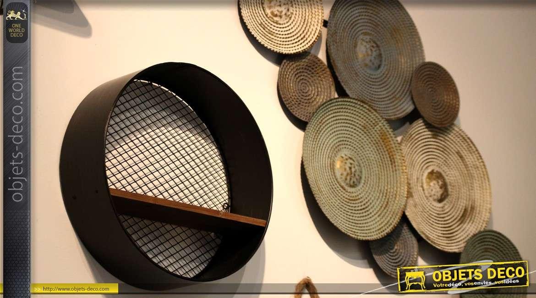 etag re murale cylindrique en m tal avec fond grillag 40 cm. Black Bedroom Furniture Sets. Home Design Ideas