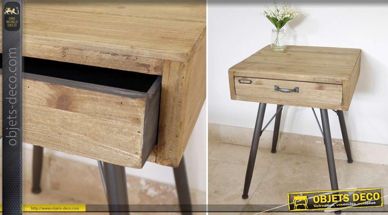 et en et de métal Table industriel de rétro bois style nuit XwPiTlOukZ