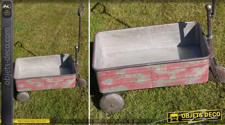 Chariot en métal galvanisé de style rétro coloris rouge vieilli