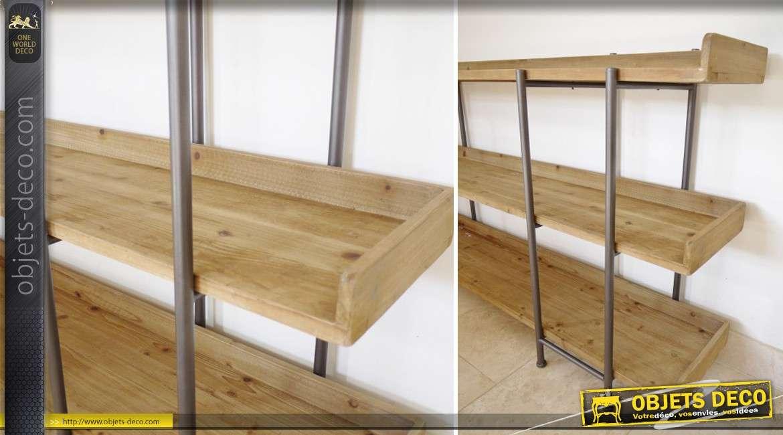 Etag re trois plateaux en bois et m tal de style industriel for Meuble etagere style industriel