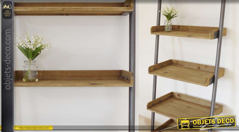 Etagère en échelle à 5 plateaux en bois et métal (2 mètres)