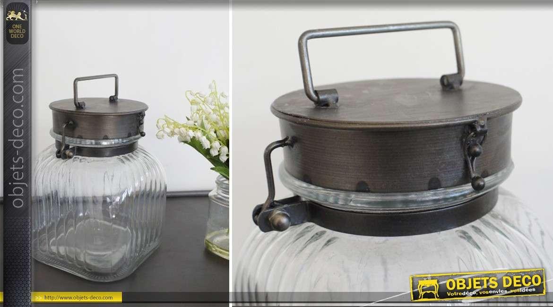 Lanterne rétro en forme de bocal en verre cannelé 24 cm