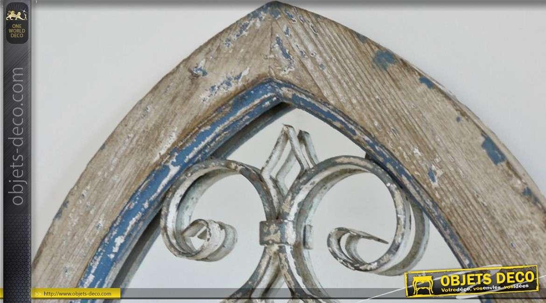 Miroir fenêtre en ogive en bois et métal style déco brocante