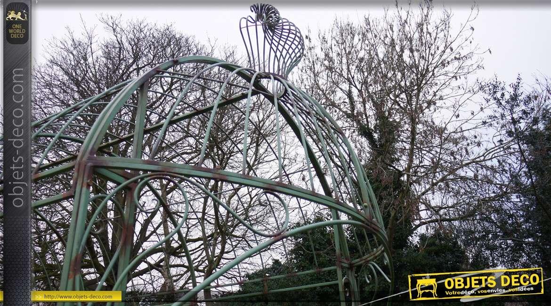 Grande tonnelle en métal et fer forgé ver antique 4,6 mètres