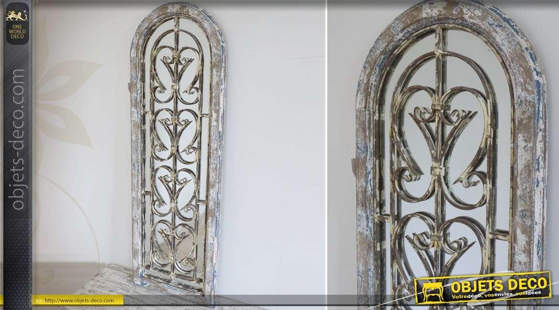 Grand Miroir Ovale En Bois En Forme De Fenêtre Gris Antique 90 Cm