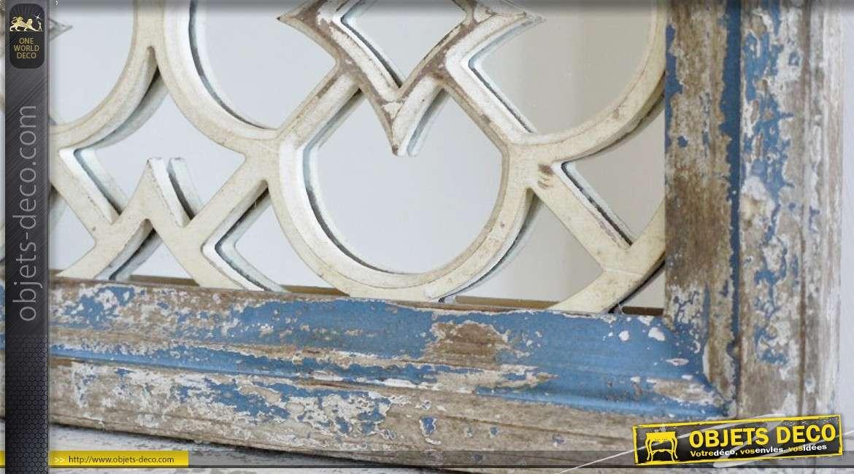 Miroir carré 65 x 65 style brocante avec panneau ajourée sculpté