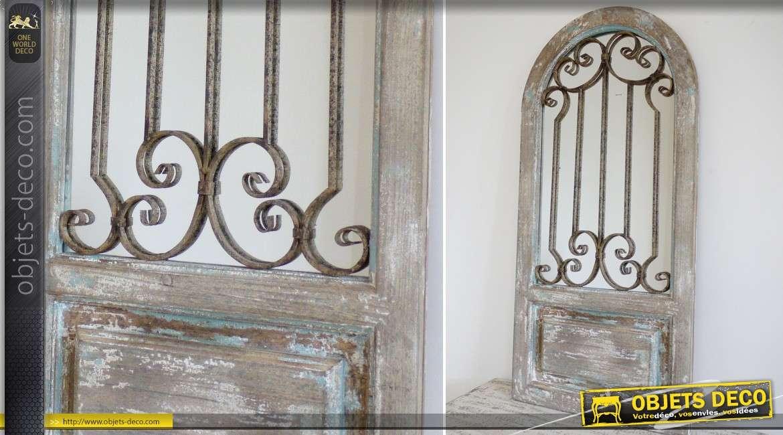 Miroir fen tre r tro effet vieilli volets en persiennes 93 cm for Miroir forme fenetre