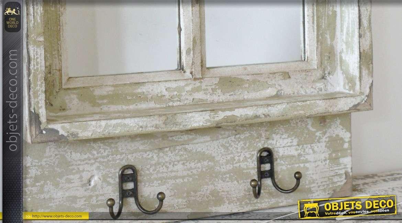 miroir fen tre de style r tro et brocante avec 2 pat res 58 cm. Black Bedroom Furniture Sets. Home Design Ideas