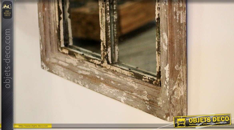 miroir fen tre en bois ancien fronton en arcade 94 cm. Black Bedroom Furniture Sets. Home Design Ideas