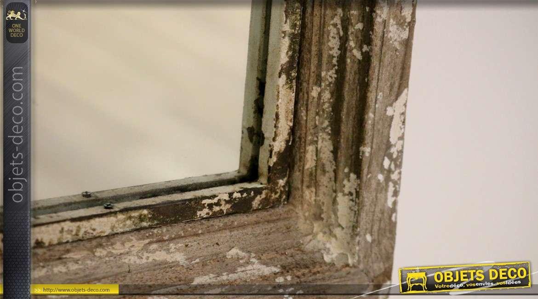 Miroir fenêtre en bois ancien à fronton en arcade 94 cm