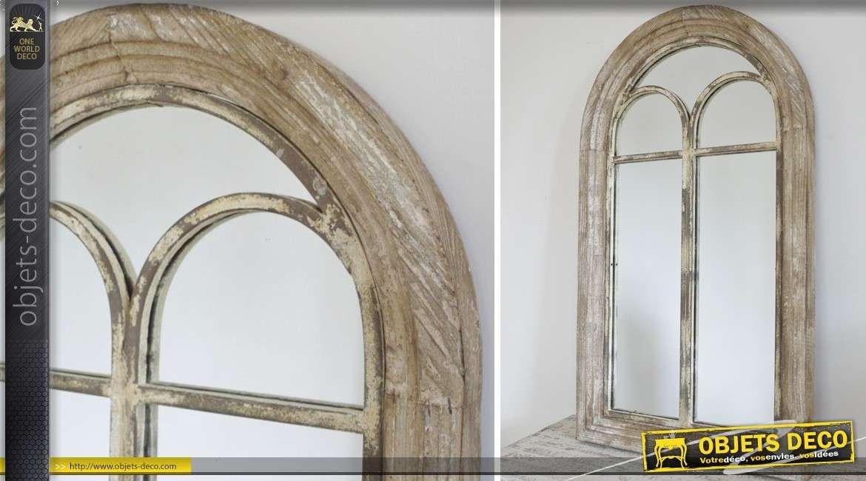 Miroir fen tre r tro effet vieilli volets en persiennes 93 cm for Miroir mural en bois