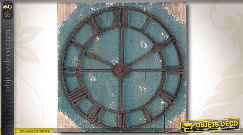 Horloge murale g ante 90 cm style r tro et bigarr - Grande horloge murale blanche ...