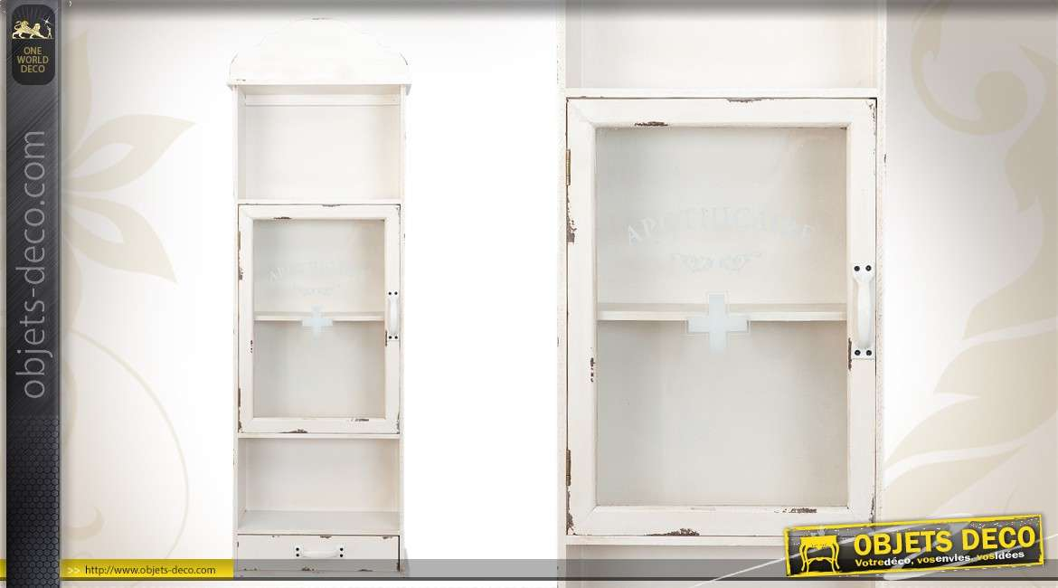 armoire pharmacie vintage en bois coloris blanc. Black Bedroom Furniture Sets. Home Design Ideas