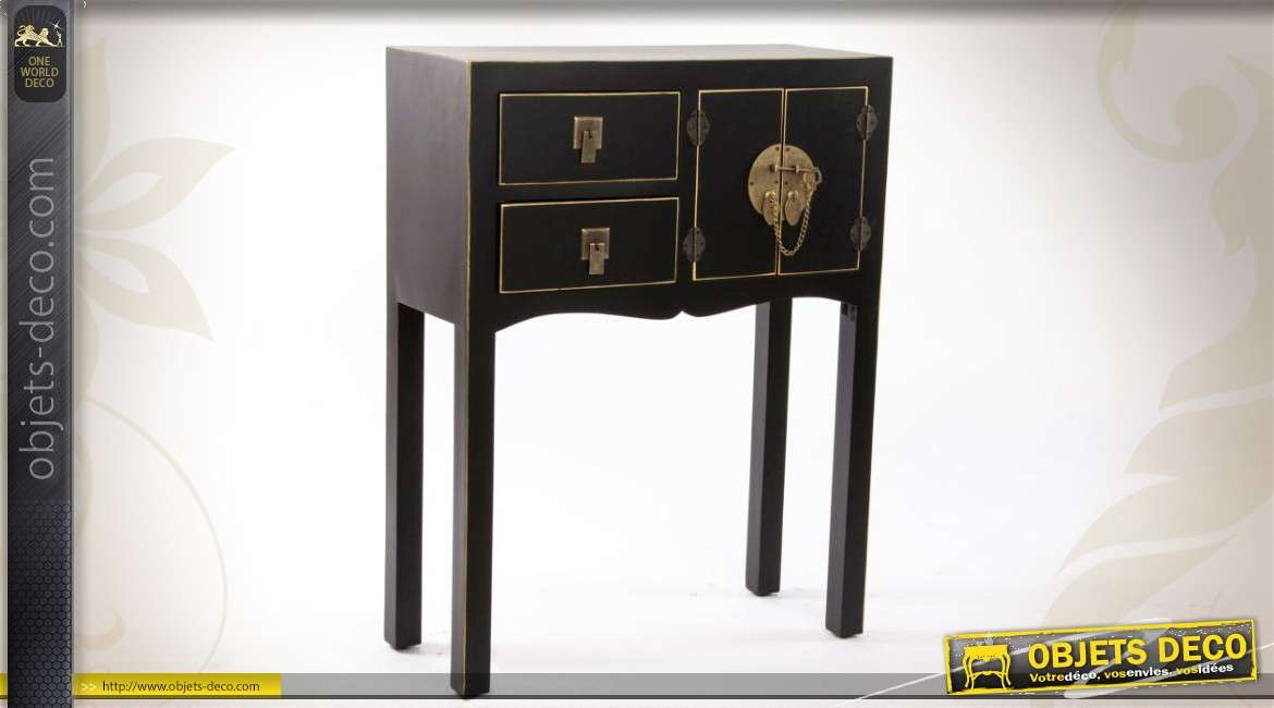console en bois de style japonais coloris noir et or. Black Bedroom Furniture Sets. Home Design Ideas