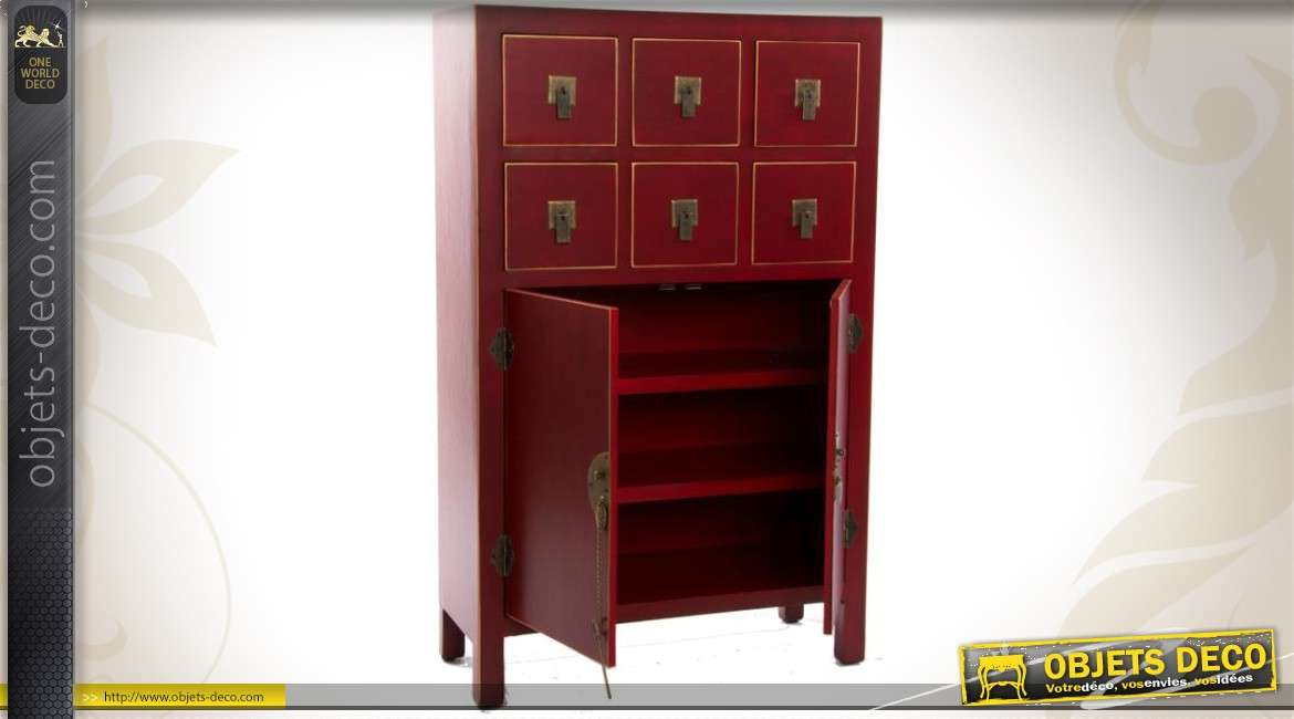 cabinet de style japonais avec portes et tiroirs coloris rouge. Black Bedroom Furniture Sets. Home Design Ideas