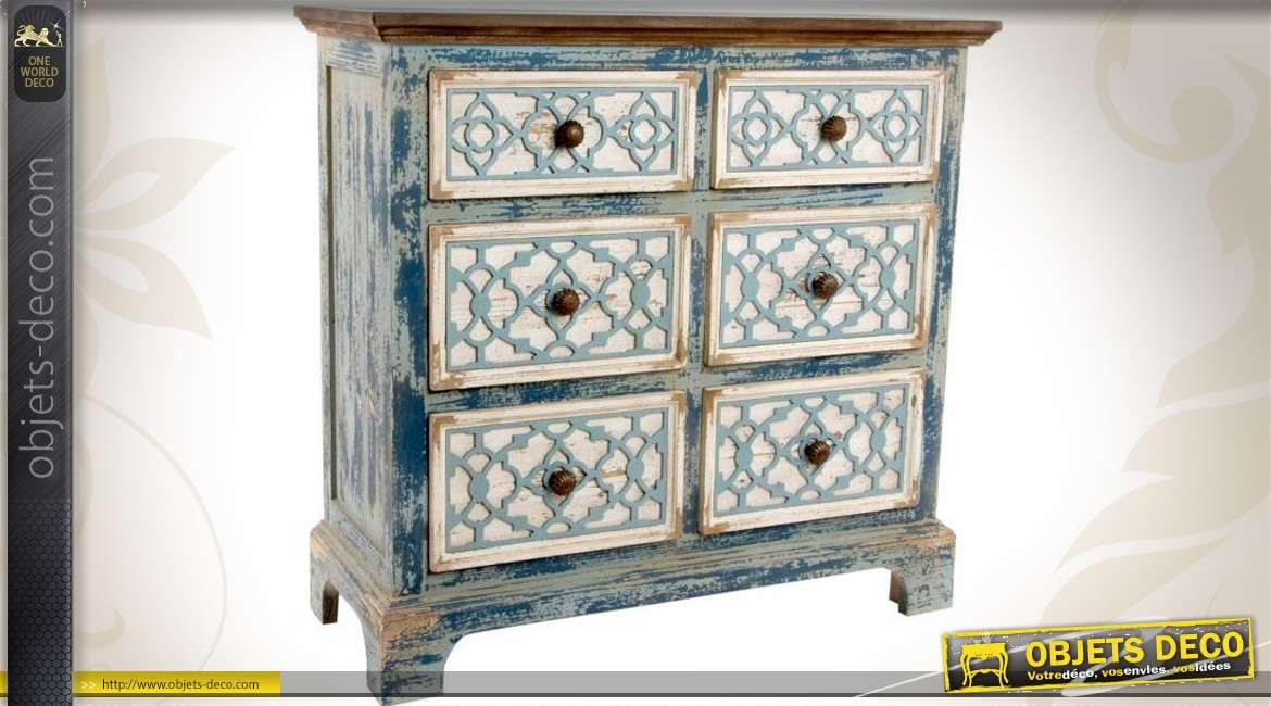 commode d co brocante 6 tiroirs patine bleu ancien. Black Bedroom Furniture Sets. Home Design Ideas