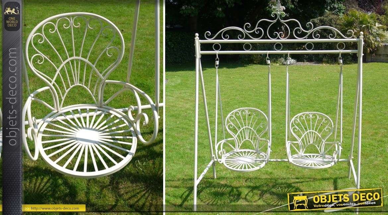 Balancelle deux si ges en m tal coloris blanc l 39 ancienne - Balancelle de jardin suisse ...