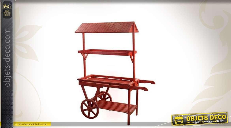 Charrette de marchand en bois patinée rouge ancien