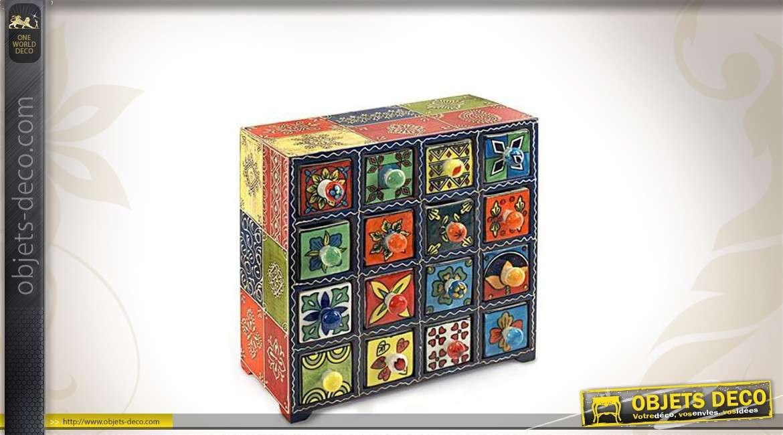 Meuble à épices en bois à 16 tiroirs avec décoration variée