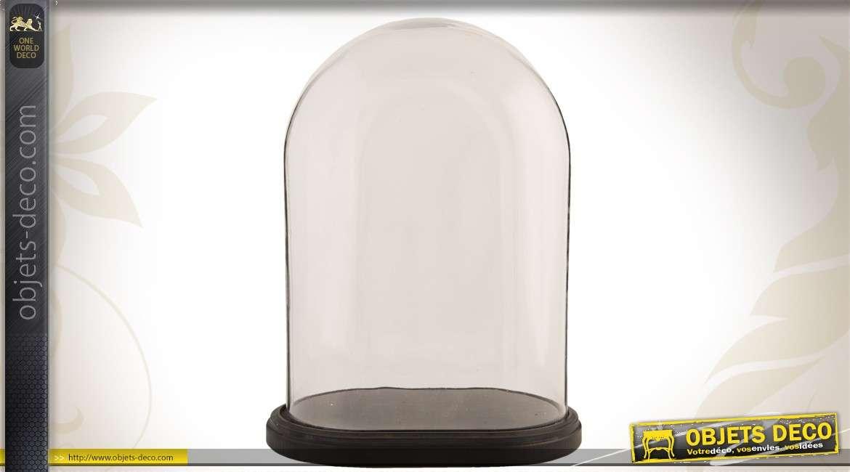 Globe ovale en verre sur socle