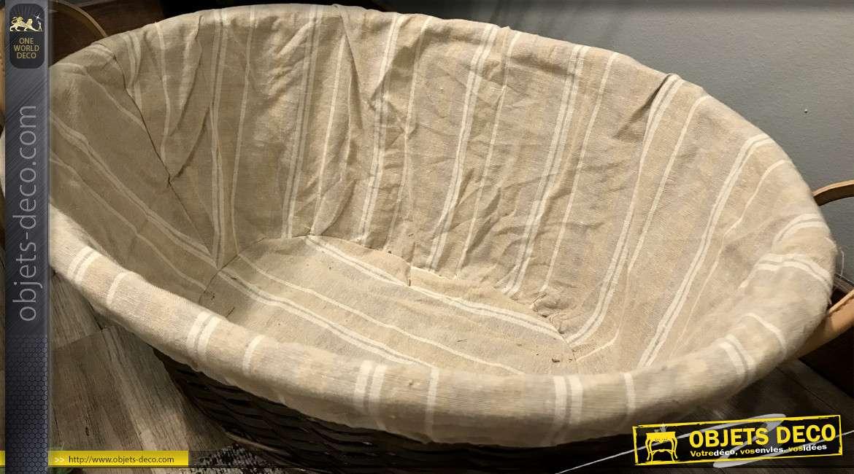 Corbeille à linge de style cosy en éclisse et doublure en coton épais, anses de transport, 50cm
