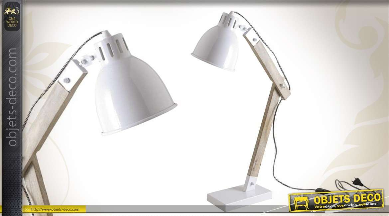 Lampe de bureau de style contemporain en métal et en bois