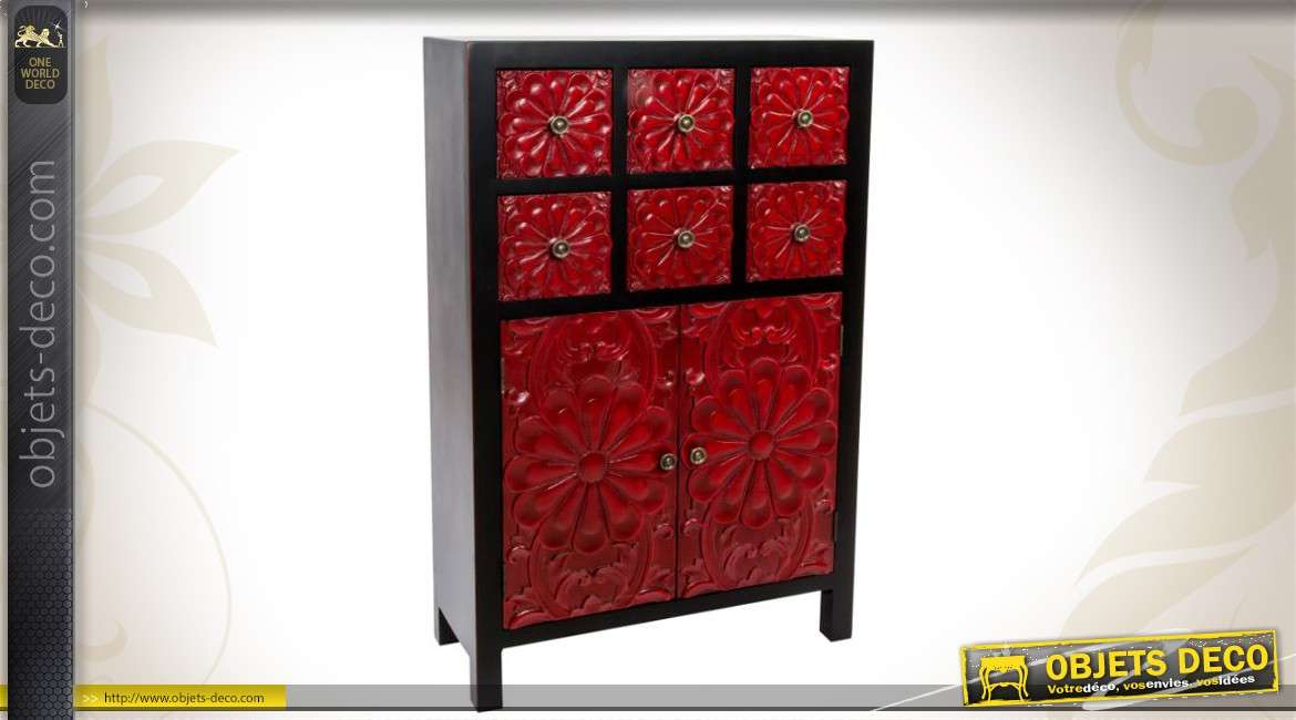 cabinet japonais noir et rouge orn de sculptures florales. Black Bedroom Furniture Sets. Home Design Ideas