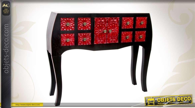Console rouge et noire ornement e inspiration style japonais for Objet deco rouge et noir