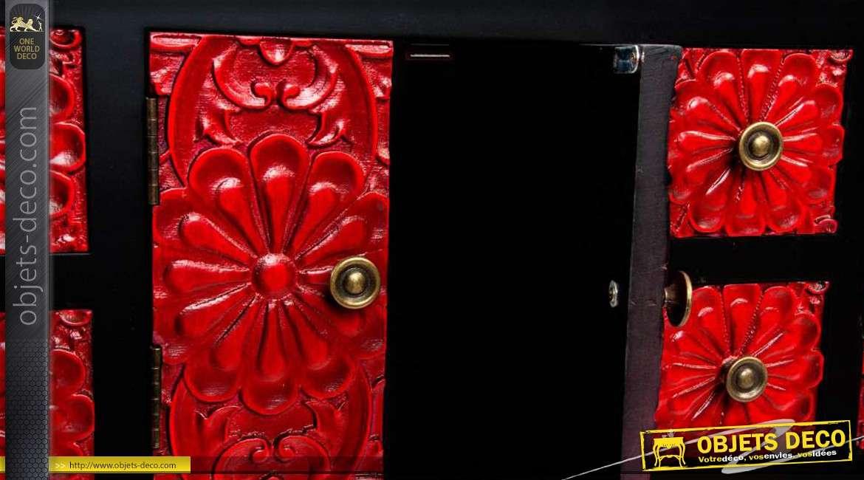 Console rouge et noire ornement e inspiration style japonais for Console style japonais